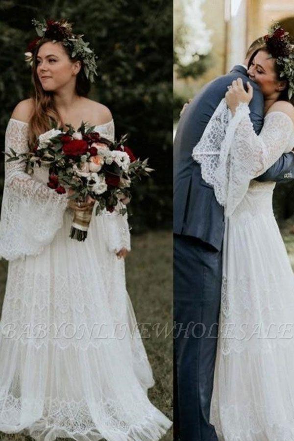 Lange Ärmel Boho Beach Garden Tüll Weiß Loose Brautkleid