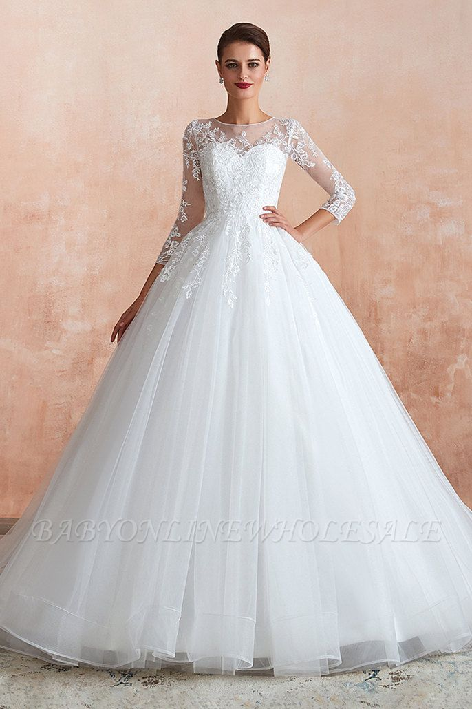 Canace | Romantic Long sleeves Lace Ball Gown Wedding Dress, Fully covered Buttons Bridal Gowns with Court Train