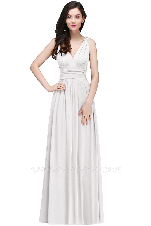 COLLINS | V-Neck A-line Floor-length Burgundy Chiffon Evening Dresses