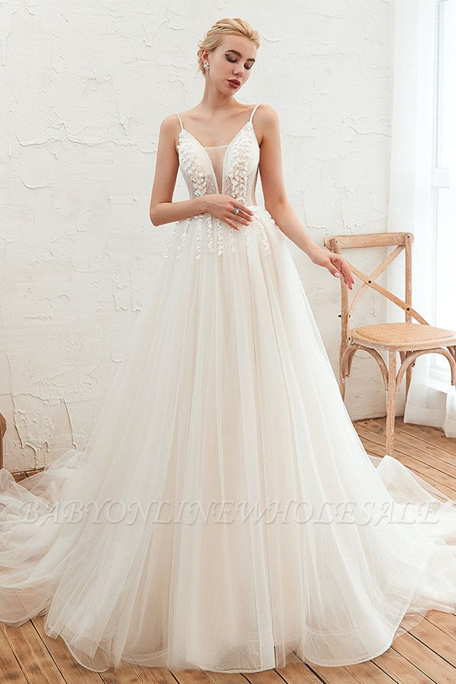 Summer Spaghetti Straps Plunging V-neck Champange Wedding Dress | Sexy Low Back Bridal Gowns Online