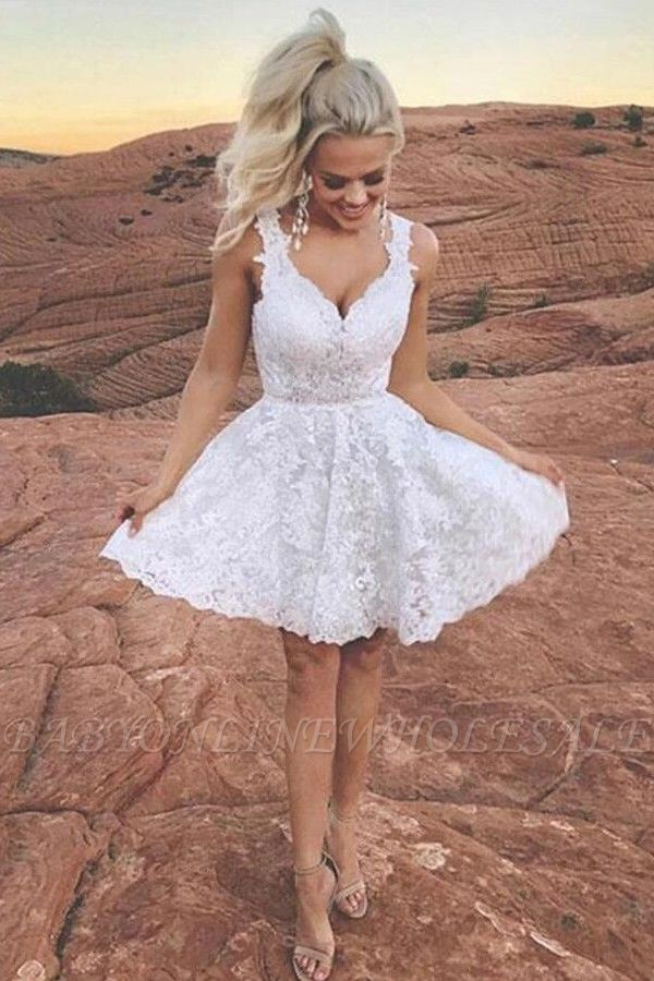 Cute Whote Lace Short Homecoming Dress V-Neck Sleeveless Cocktail Dress