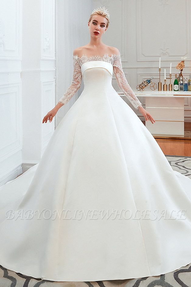 Romántico de encaje de manga larga princesa vestido de novia de satén | Vestidos de novia princesa con tren catedral