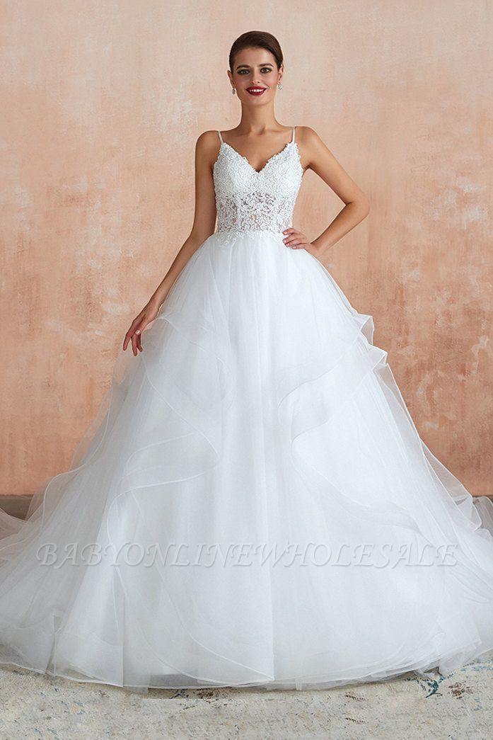 Camille | White Ball Gown Wedding Dress with Chapel Train, Spaghetti Strap See-through Lace up Bridal Gowns for Sale