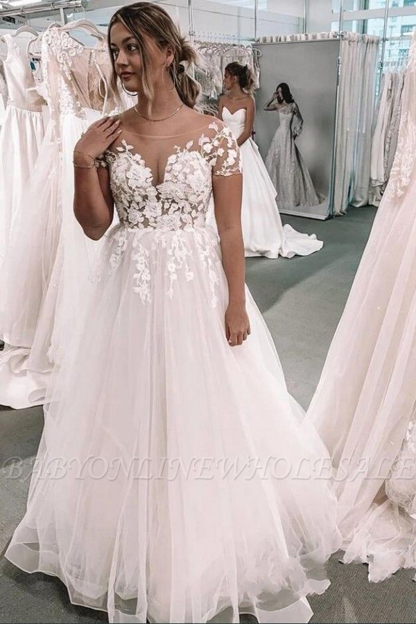 Romantic Short Sleeves White 3D Floral Lace Tulle A-line Wedding Dress
