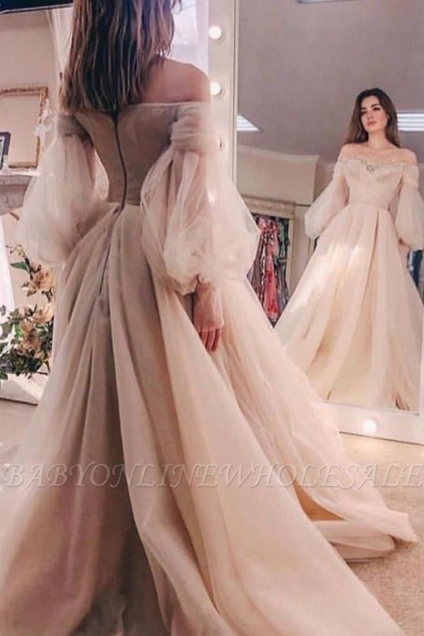 Off-the-shoulder Beads puff sleeve Tulle Ball Gown Evening Dress