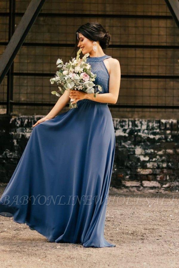 Halter Chiffon Long Wedding Party Dress Evening Swing Dress