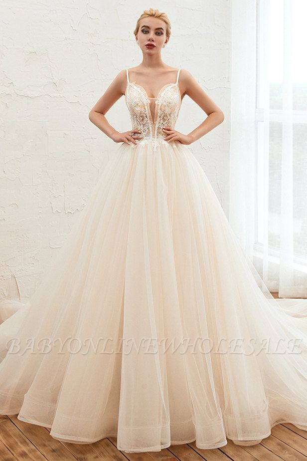 Boho Spaghetti Straps Ivory Ball Gown Wedding Dress | Romantic Bridal Gowns for Sale