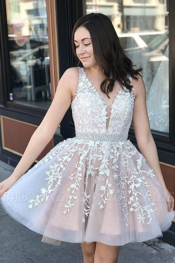 Cute Tulle Floral Lace A-line Homecoming Dress Deep V-Neck Sleeveless Cocktail Dress