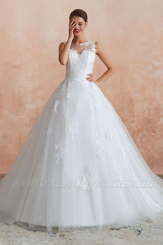 قابيل | الوهم العنق فستان الزفاف الأبيض مع يزين الدانتيل exqusite ، بلا أكمام الخامس عودة أثواب الزفاف رخيصة على الانترنت