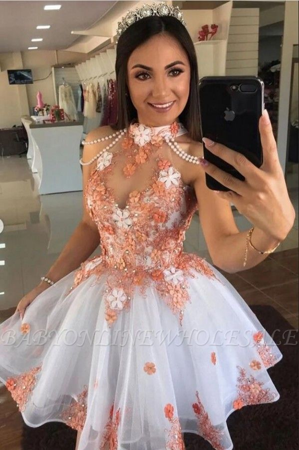 Cute Tulle Lace Short Prom Dress Halter Floral Cocktail Dress