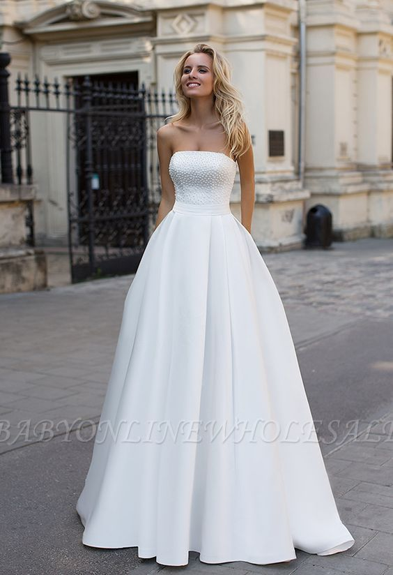 Simple Strapless White A-line Zipper up A-line Princess Wedding Dress