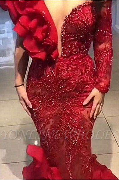 Bourgogne une épaule sirène manches longues robe de soirée sexy sirène