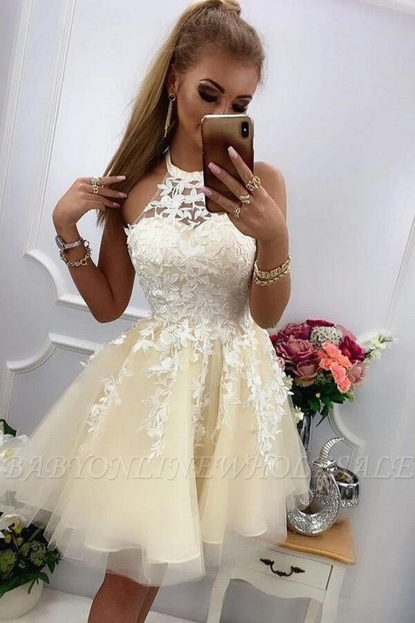 Halter Tulle Lace Short Cocktail Dress Sleeveless Homecoming Dress for Girls