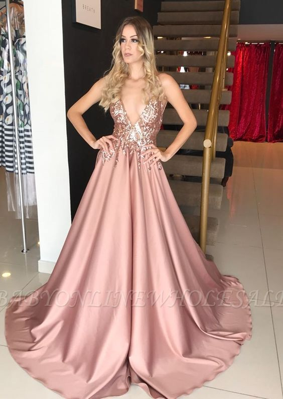 Sleeveless Dusty Rose A-line Sparkle Sequin Formal Evening Dress