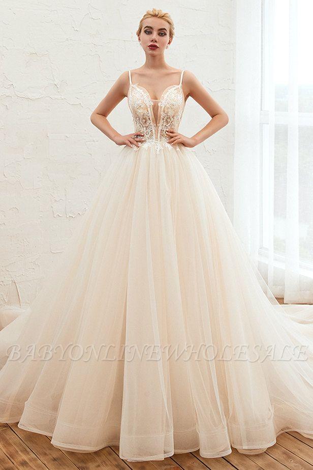Vestido de novia marfil con tirantes finos boho | Vestidos de novia románticos en venta