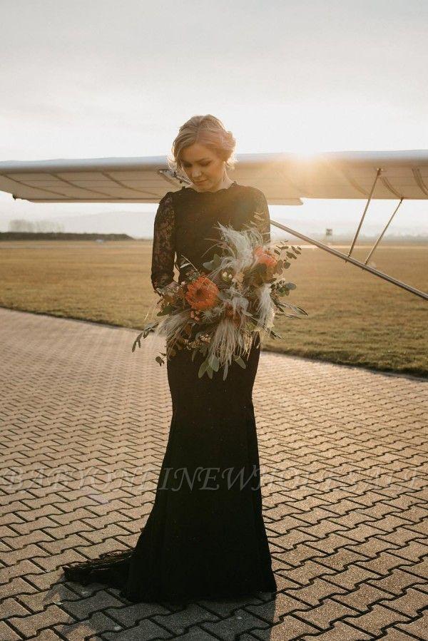 Sexy schwarzes langes Meerjungfrau-Hochzeitskleid mit langen Ärmeln Rundhals-Brautkleid