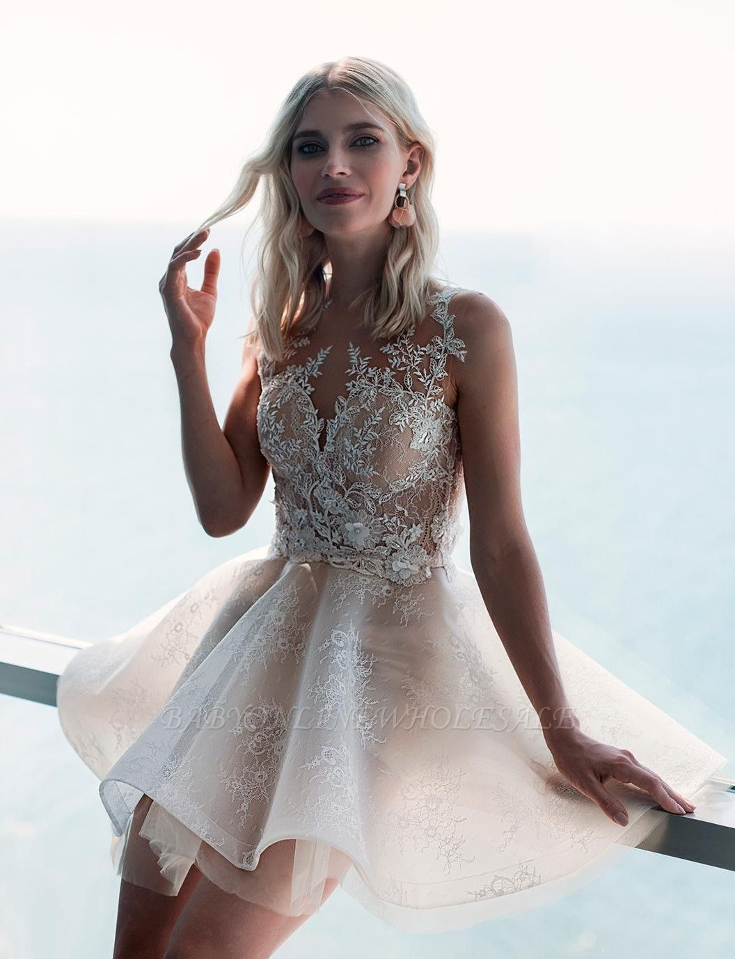 Ivory Sleeveless Lace Puffy Flowers Homecoming Dress