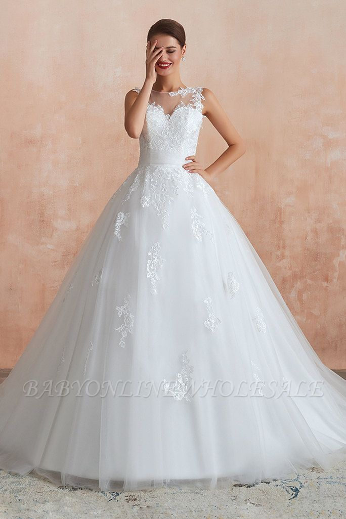 Cain   Illusion Neck White Wedding Dress with exqusite Lace Appliques, Sleeveless V-back Bridal Gowns Online