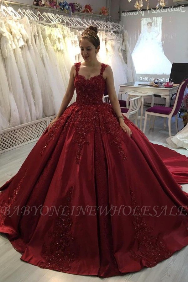 Red A-line Ball Gown with Long Sweep Train Sweetheart Straps
