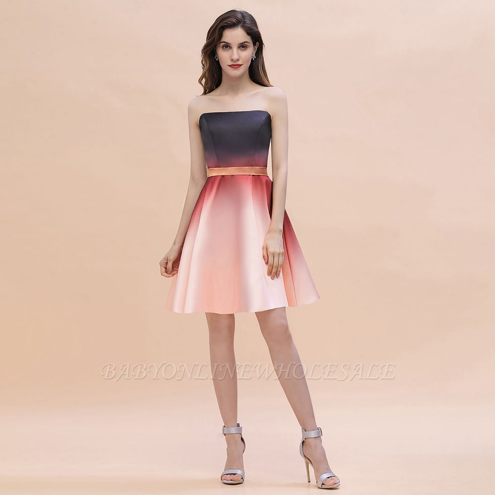 Sleeveless Gradient Satin Evening Prom Mini Dress Elegant Sweetheart Daily Dress