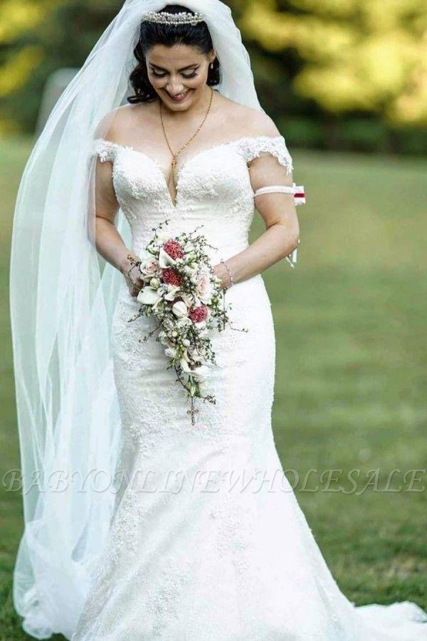 Off Shoulder White Garden Mermaid Bridal Gown