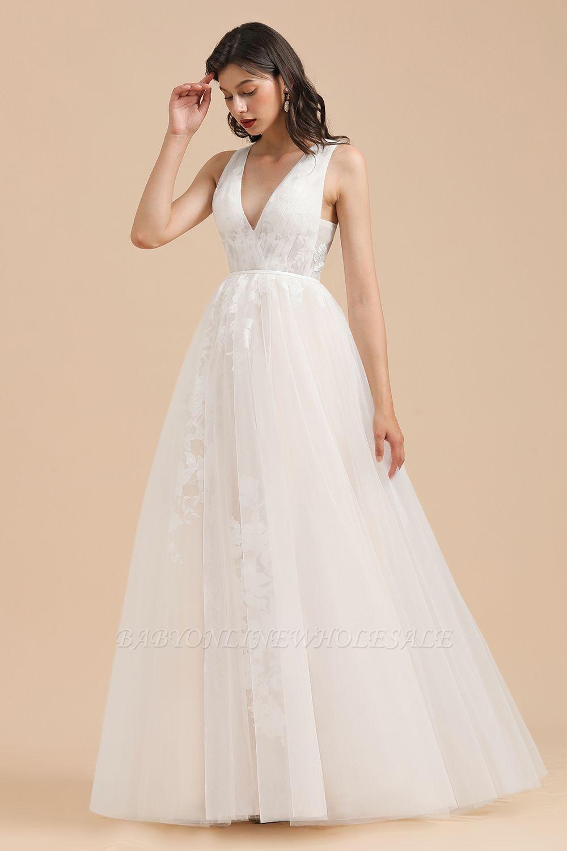 Elfenbein V-Ausschnitt Tüll Spitze Applikationen Einfache Hochzeitskleid Garten Brautkleider Bodenlänge