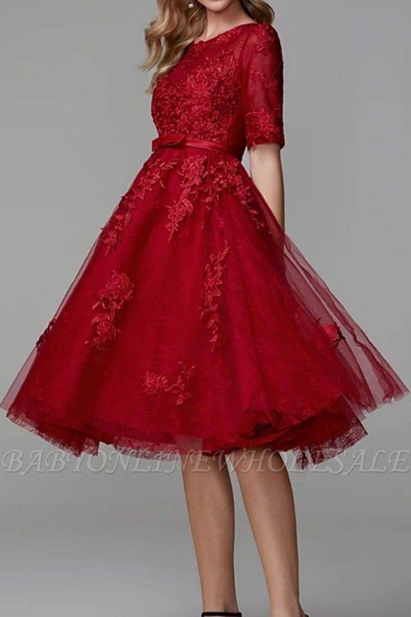 Burgundy Half Sleeves Burgundy Tulle Lace Formal Dress Short Daily Wear Dress