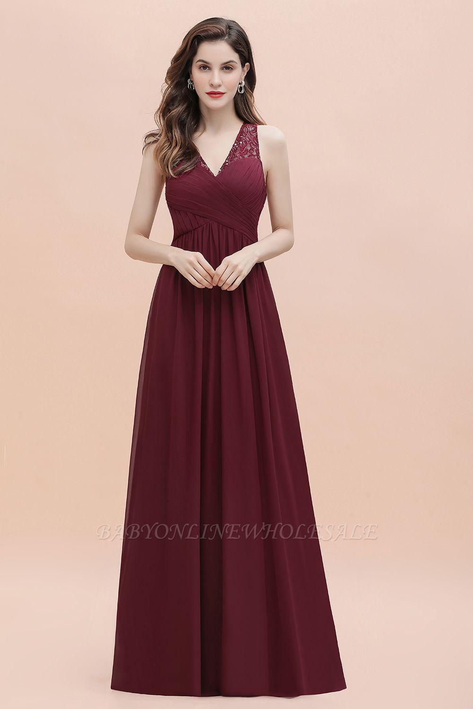 Vestido de noite de chiffon com decote em A maxi vestido sem mangas dama de honra vestido de noiva