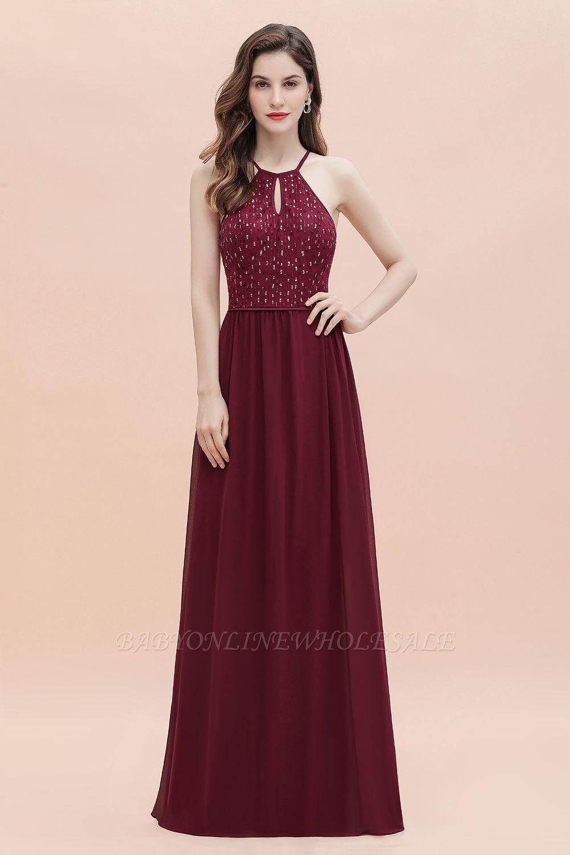 Вечернее платье трапециевидной формы с пайетками на шее, элегантное шифоновое вечернее платье макси