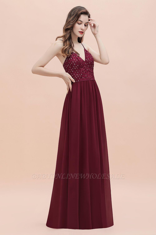 V-образный вырез Ремни А-силуэта Платье для подружки невесты Вечернее платье с пайетками