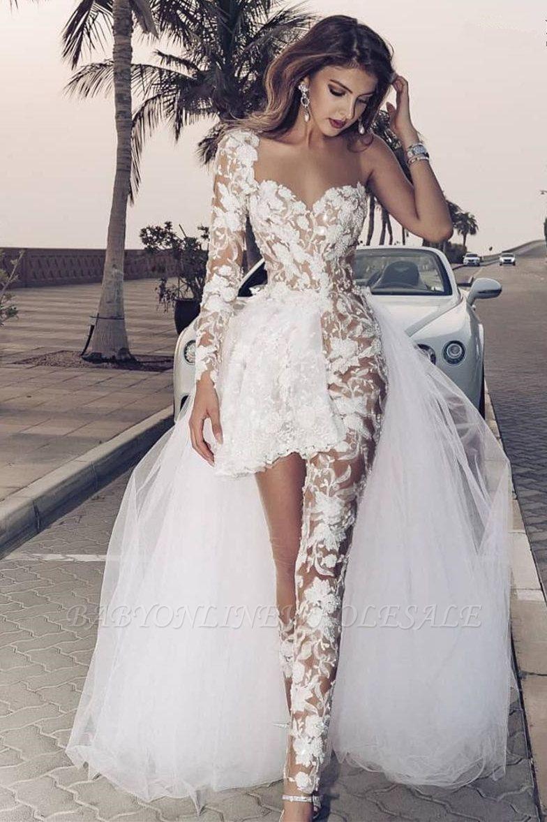 Eleganter Spitzenoverall Asymmetirc Durchsichtiger Überrock Weißes Brautkleid