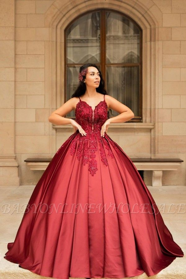 Stunning Spaghetti Straps Red Lace Appliques Satin Ball Gown