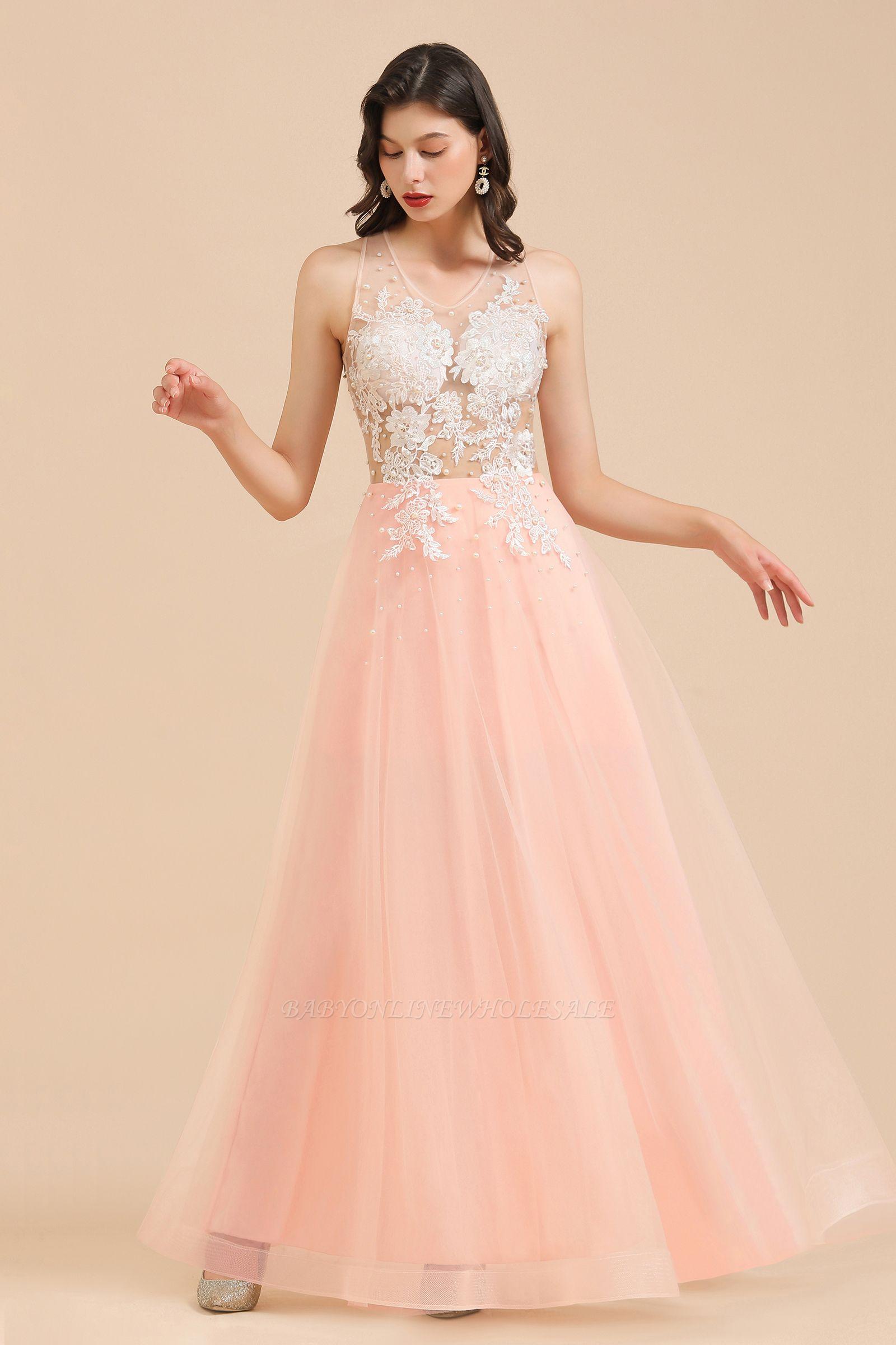 Vestido de noite simples com decote redondo em renda rosa
