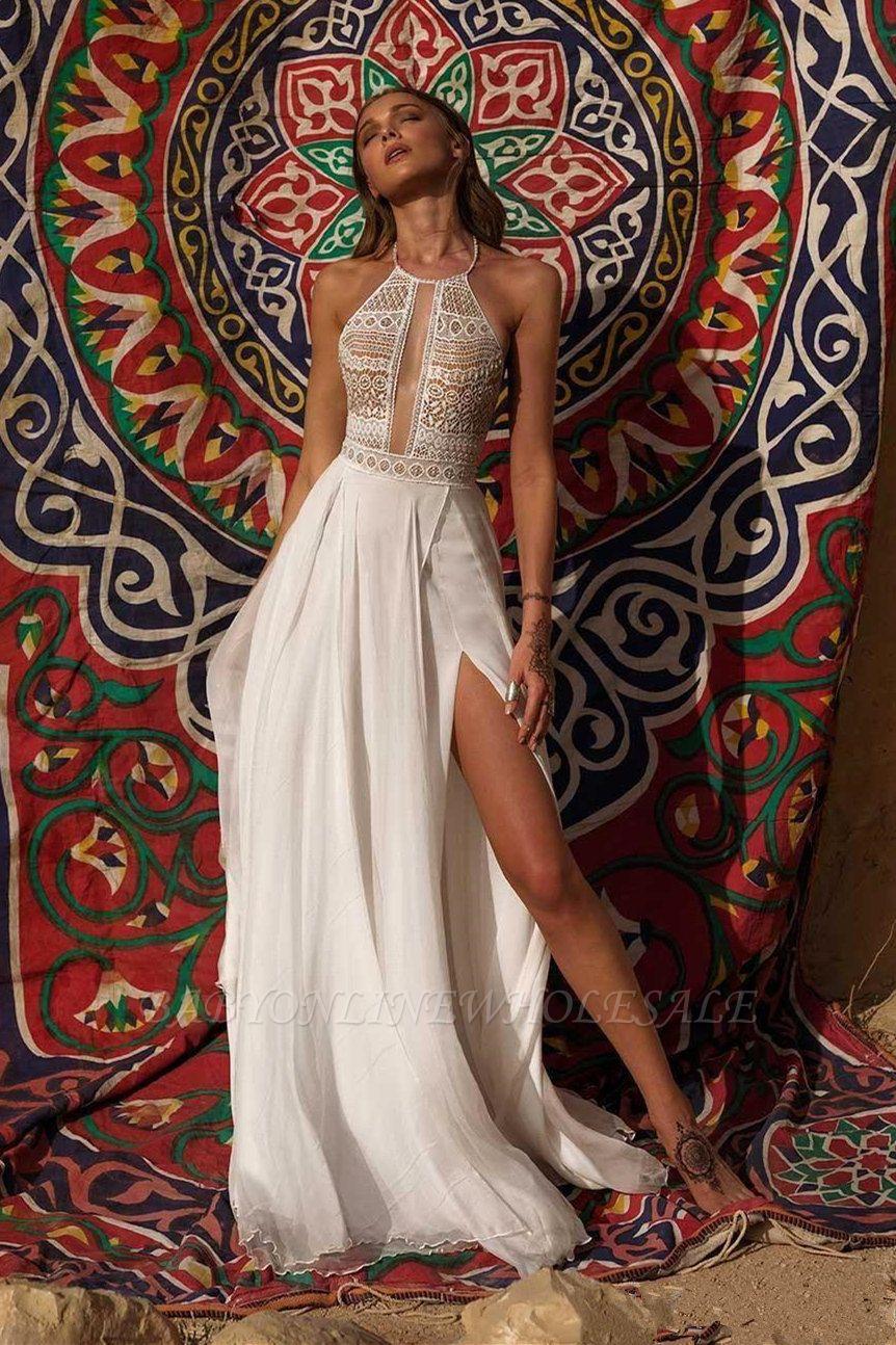 Vestido de novia simple de verano bohemio de gasa con abertura alta en blanco y halter