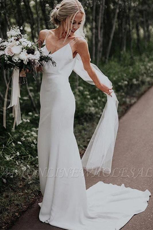 Sommer White Boho Column Beach Court Zug Hochzeitskleid