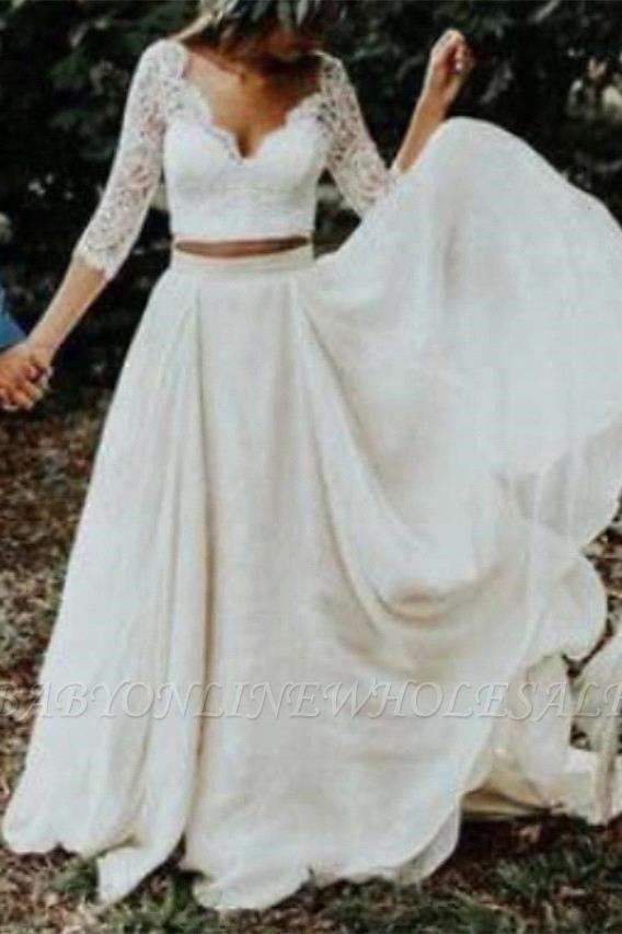 بوهو قطعتين الدانتيل الأكمام الصيف شاطئ فستان الزفاف