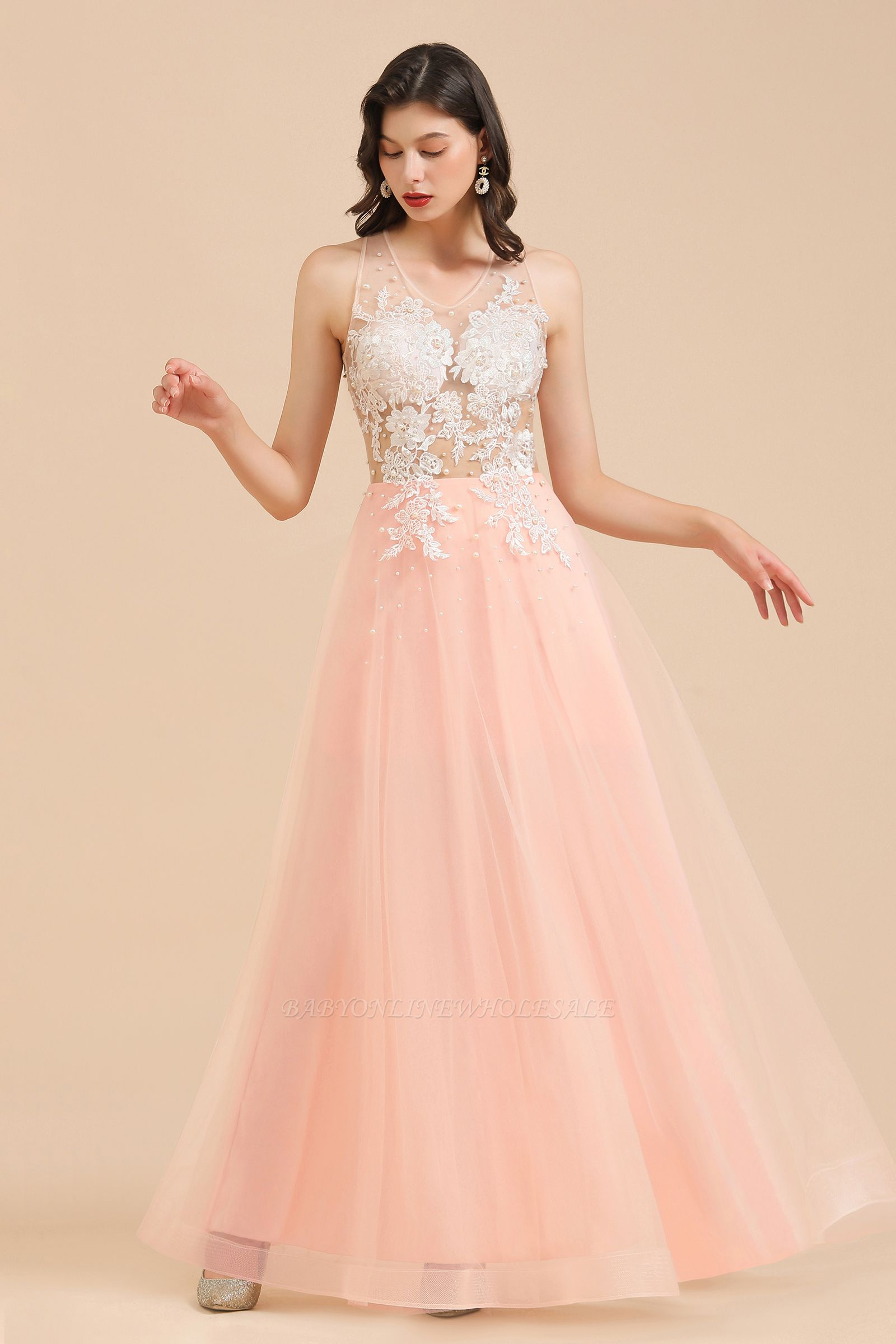 Simple Round neck Lace appliques Pink A-line evening dress