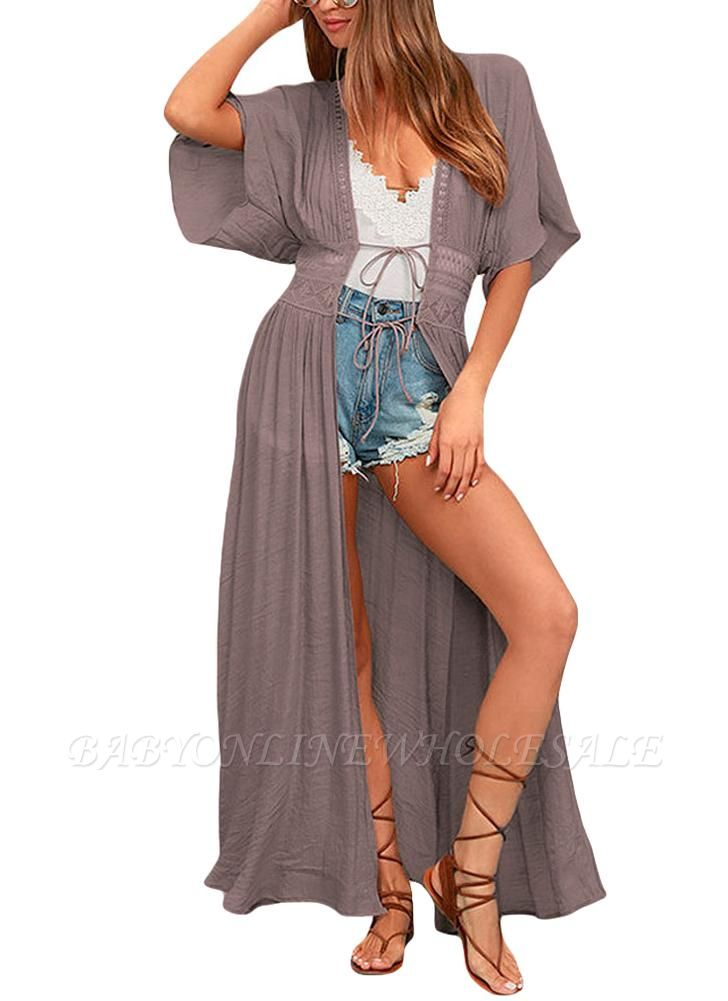 Women Beach Cover Up Lace Bandage Maxi Cardigan Tunic Bikini Swimsuit