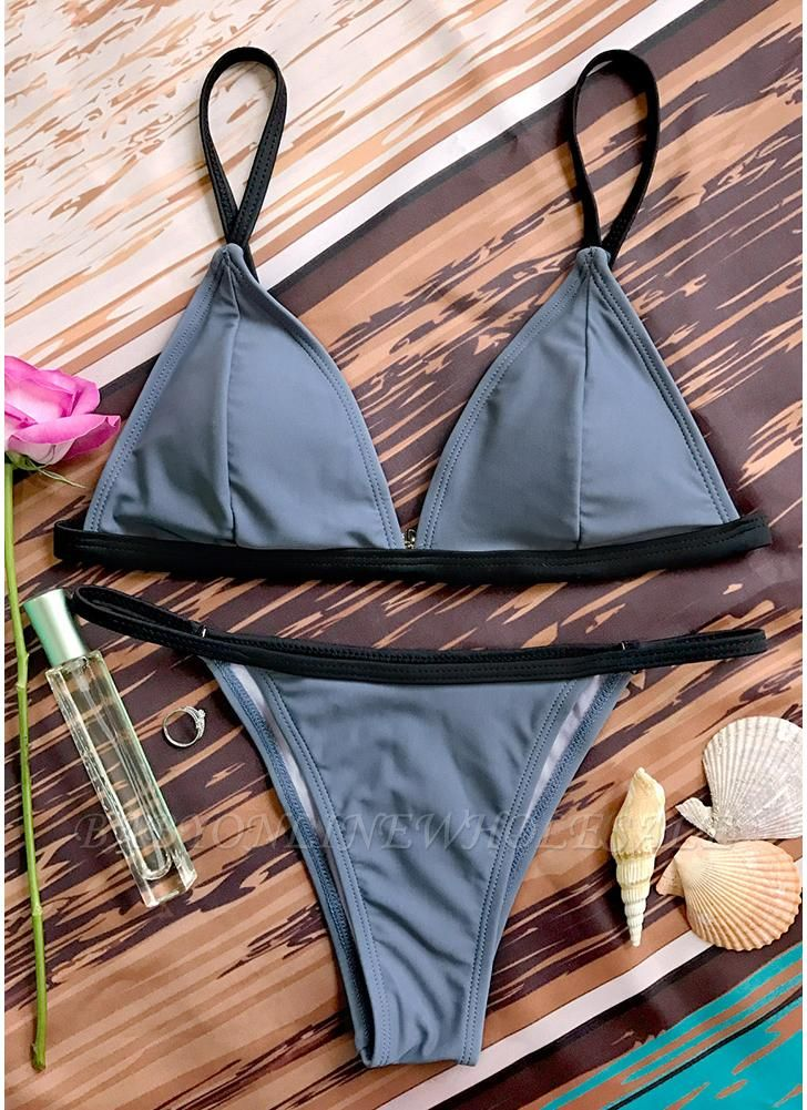 Women Swimwear Bikini Set Sleeveless Backless Padded Spaghetti Strap Swimsuit Beach Wear