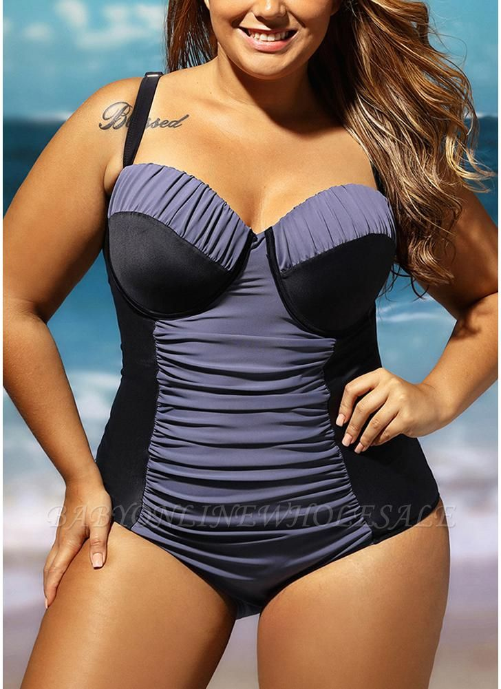 Women Plus Size One Piece Swimsuit Color Block Underwire Padded Push Up