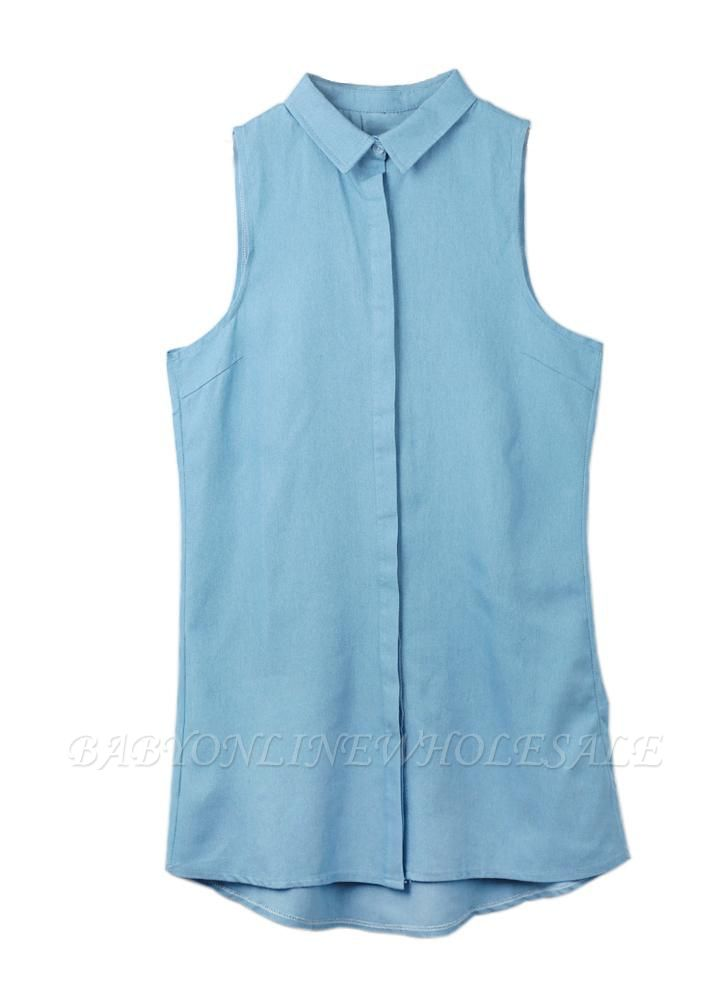 Summer ChicTurn-Down Collar Sleeveless Button Mini Shirt Denim Dress