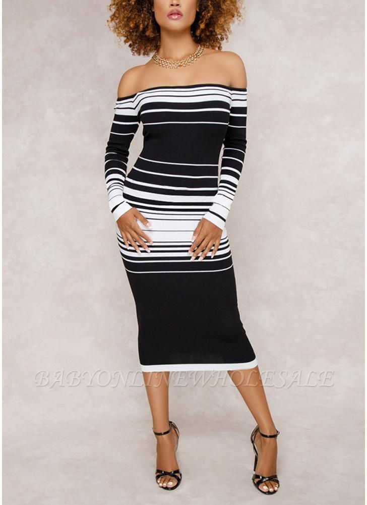 Striped Off The Shoulder Long Sleeve Party Club Tube Midi Dress