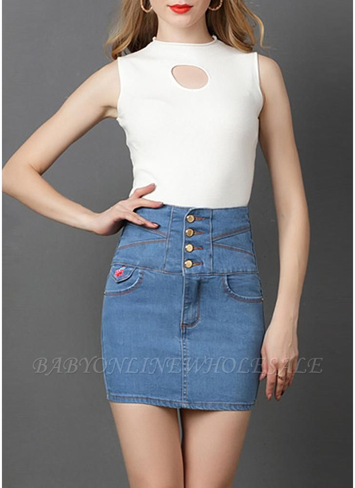Denim High Waist Embroidery Button Solid Slim Bodycon Mini Skirt