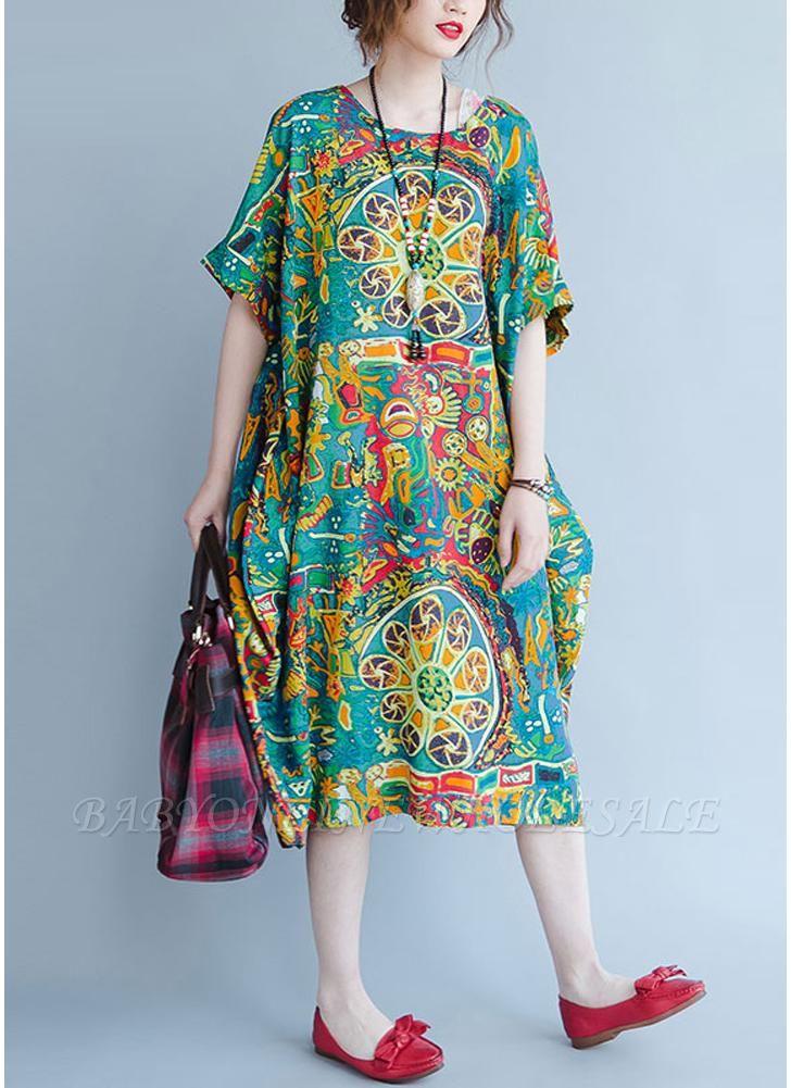 Бохо хлопок граффити печати платье с коротким рукавом льняные карманы Midi платье