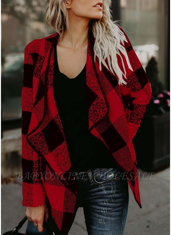 Mode Frauen Langarm Plaid Reverskragen Casual unregelmäßige Jacke