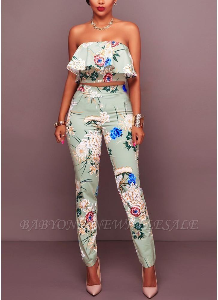 Plissado de impressão floral fora o ombro Backless moda feminina conjunto de duas peças