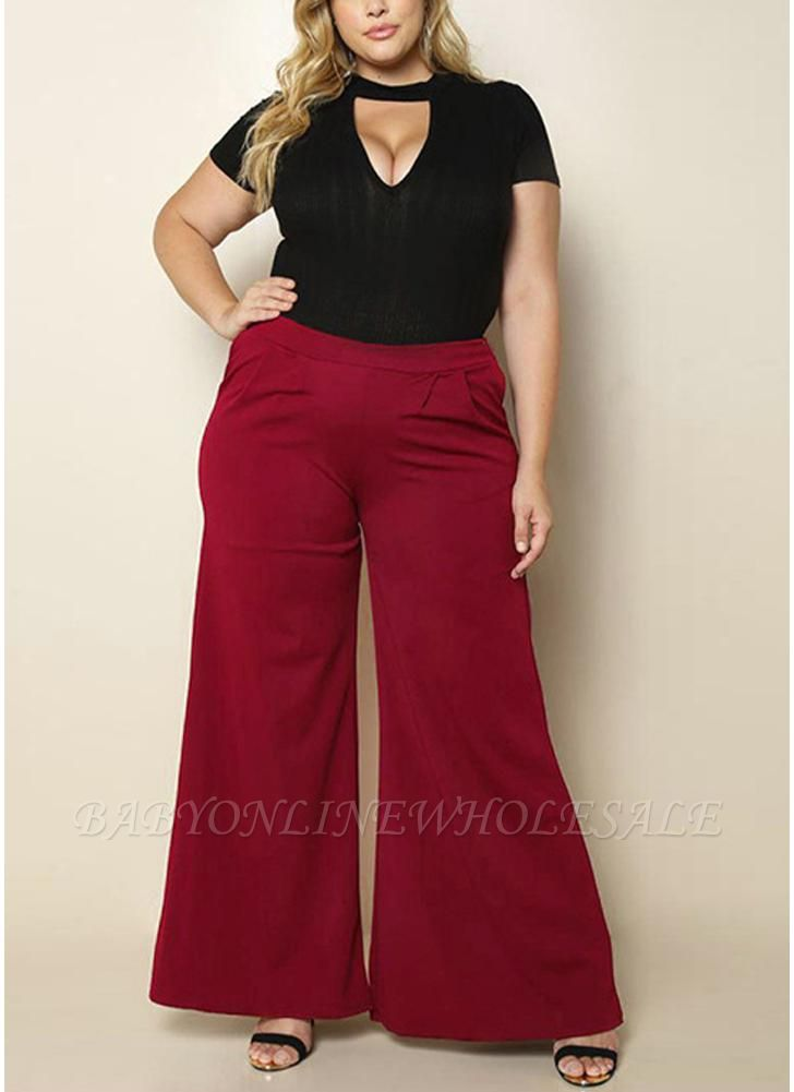 Fashion Women Plus Size Solid Color Side Pockets High Waist Wide Leg Pants