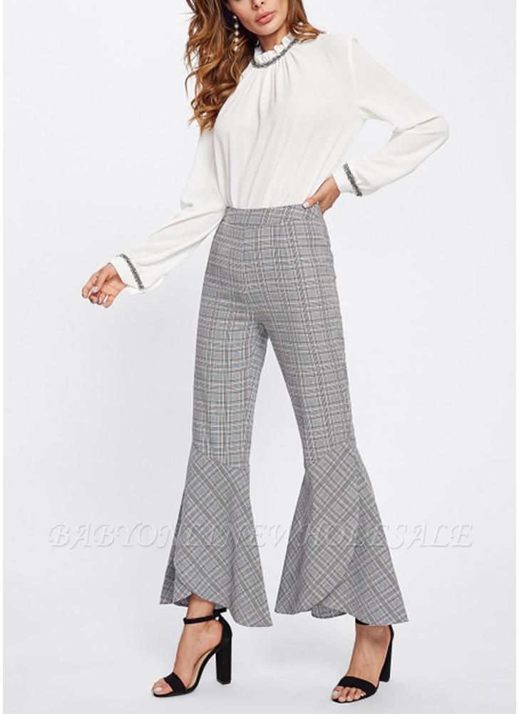 Plaid Print Flared Bell Bottom High Waist Pants