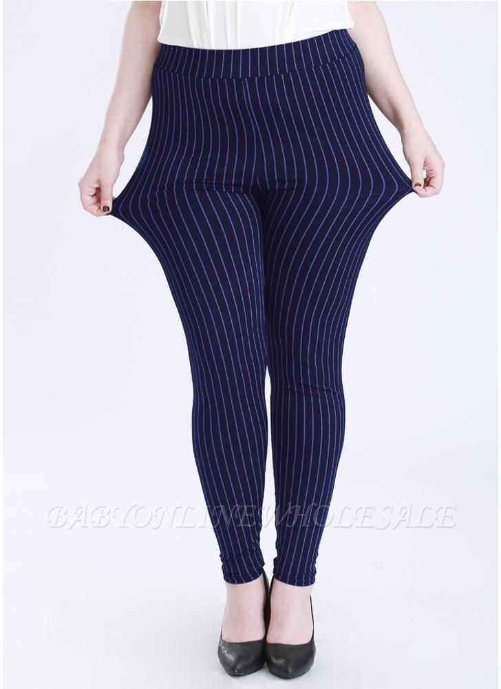 Plus Size elastische Taille gestreiften Bodycon Hosen