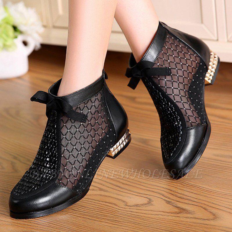 Черная короткая каблук Bowknot Casual Mesh Boots